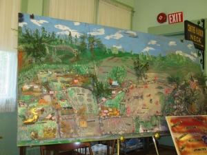 A painting of Gettysburg and the important events there.